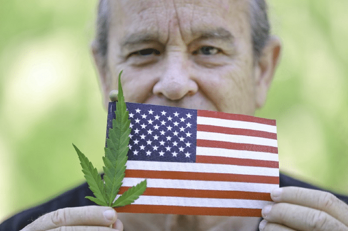 Veteran Holding Marijuana And American Flag