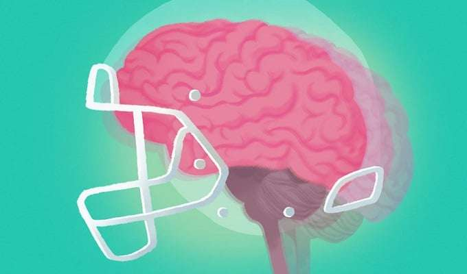 Illustration Of Brain In NFL Helmet