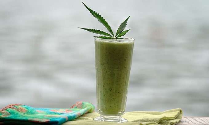 raw cannabis is in a smoothies