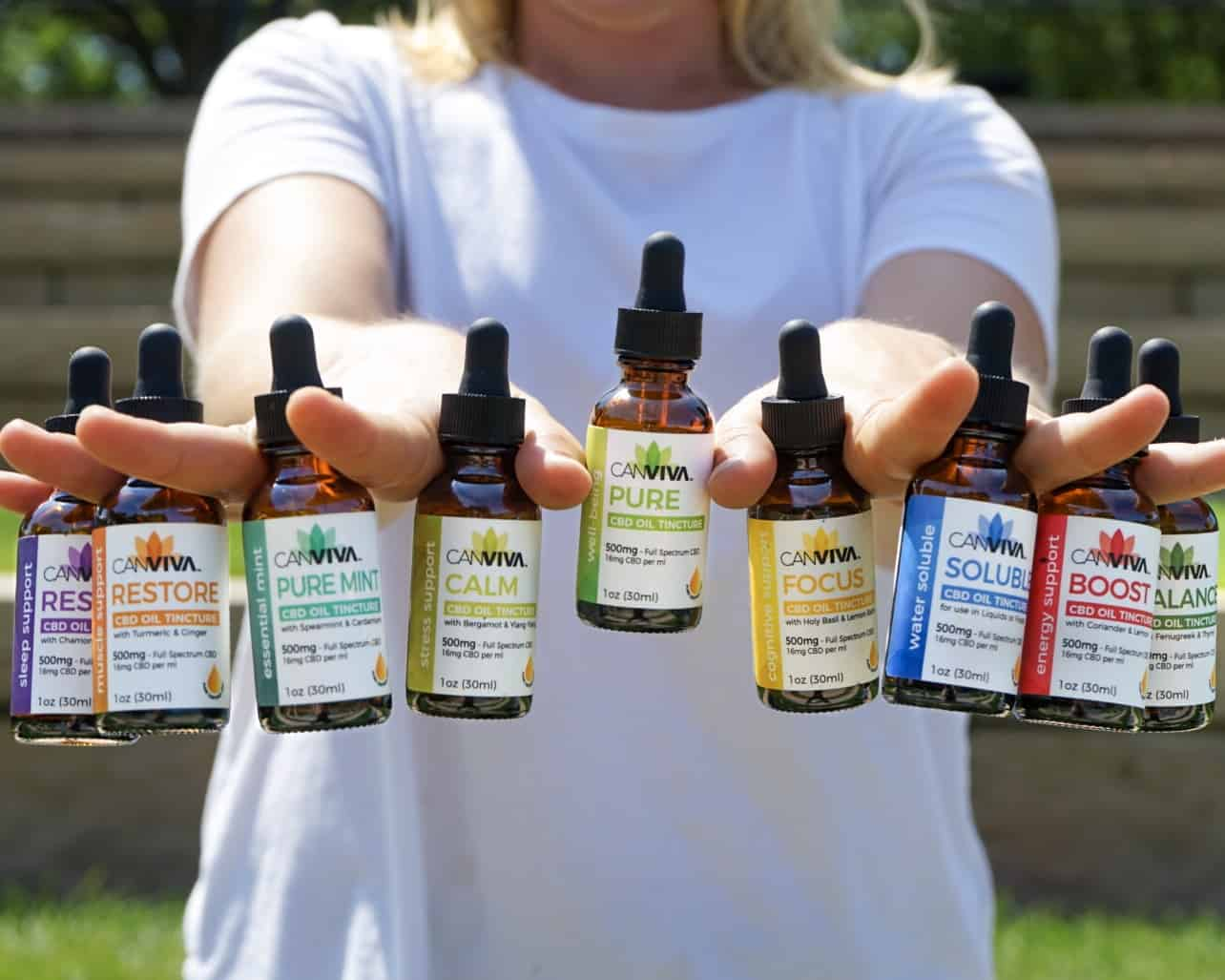 Woman holding CANVIVA CBD tinctures