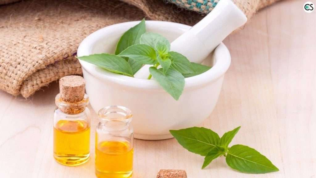 Essential Oil With Mortar and Pestle