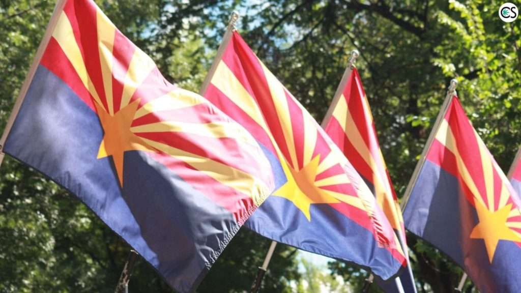 Arizona Flag Blowing In Wind