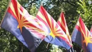 Arizona Flag Blowing In Wind